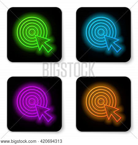 Glowing Neon Line Target With Arrow Icon Isolated On White Background. Dart Board Sign. Archery Boar