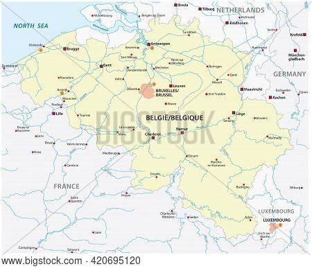 Vector Map Of Belgium With Main Cities