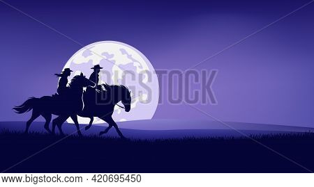 Cowboy And Cowgirl Riding Horse In Prairie Against Full Moon - Romantic Legend Wild West Scene Silho