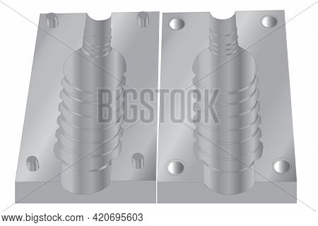 Plastic Pet Bottle Mold Vector. Plastic Drinking Water Bottle Manufacturing Blowing Process Illustra
