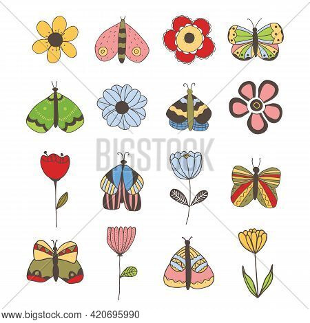 Vector Set Of Isolated Butterflies And Flowers On White Background. For Invitations, Greeting Cards,