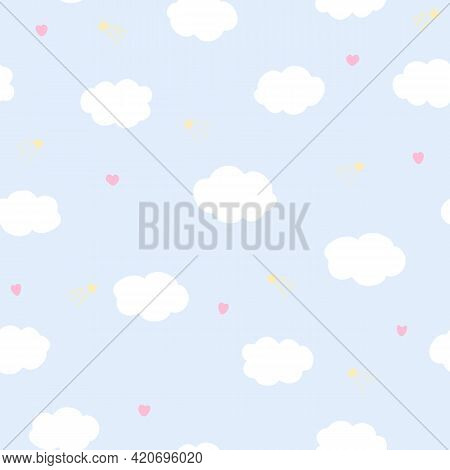 Vector Seamless Pattern With Clouds And Hearts On Blue Background. For Fabric, Textile And Linen, Pr