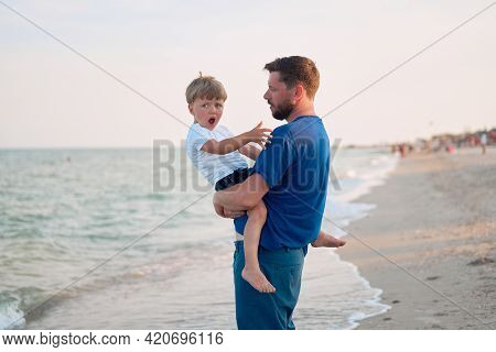 Father Son Spending Time Together Sea Vacation Young Dad Child Little Boy Walking Beach Fathers Day.