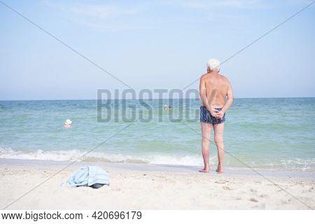 Alone Unrecognizable Senior Man Standing Sea Beach Watching Horizon Rear View Sadness Loneliness Age