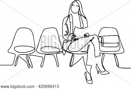 Young Woman Waiting For Interview Indoors. Side View Portrait Of Young Woman Wearing Mask And Holdin