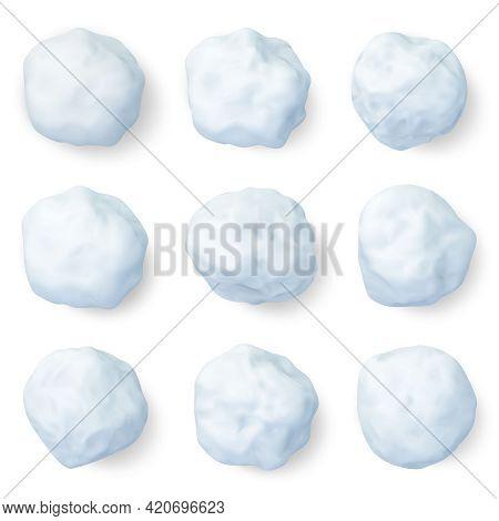 Realistic Snowballs. Winter Frozen Snow Ball, Christmas Snowy Decorations Or Kids Winter Snowballs G