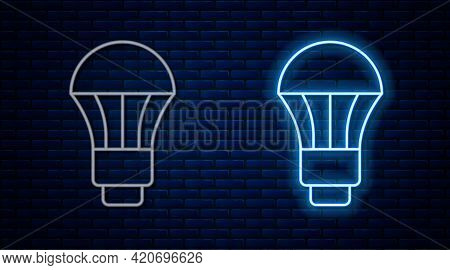 Glowing Neon Line Led Light Bulb Icon Isolated On Brick Wall Background. Economical Led Illuminated