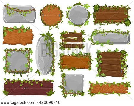 Vines Wooden And Stone Boards. Tropical Wild Rainforest Stone, Wood Boards With Lianas And Green Lea