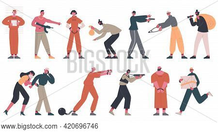 Criminals And Prisoners. Arrested Prisoners, Thieves And Gangsters Criminal People Vector Illustrati
