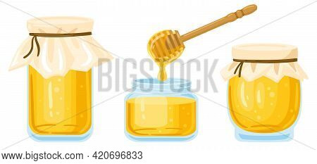 Cartoon Honey Jars. Glass Pots And Wooden Spoon With Dripping Liquid Honey Isolated Vector Illustrat