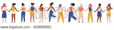 Female Friends Group. Young Female Diverse Group, Happy Women Stand Together And Hold Hands Vector I
