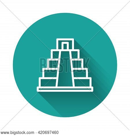 White Line Chichen Itza In Mayan Icon Isolated With Long Shadow Background. Ancient Mayan Pyramid. F