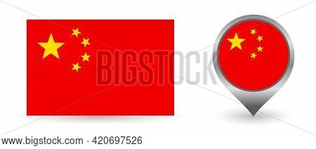 Vector Flag China. Location Point With Flag China Inside.