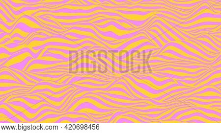 Abstract Background In Violet And Yellow Colors. Waves On A Striped Surface, Vector Illustration.