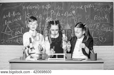 Fascinating Chemistry. Basic Chemical Reactions. Group School Pupils Study Chemistry In School. Boy