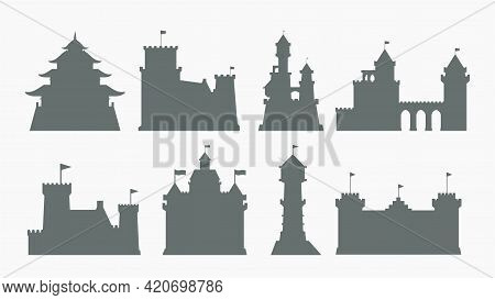 Castles Gray Color Silhouettes Set On White
