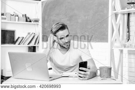 Web Development And Online Communication. High School University. Student Use Smartphone Communicati