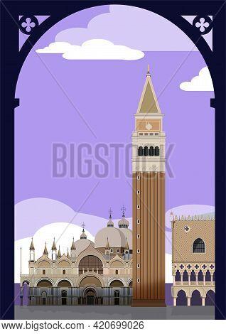 San Marco Square. Venice. Vector. Italian, Italy,