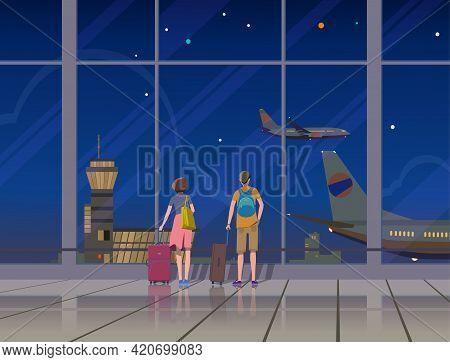 Airport, Terminal, Travel, Aircraft, Vector. Night Airport