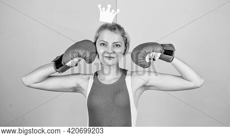 Womens Power. Girl Queen Sport Champion. Be The Best. Lady Winner. Queen Of Boxing Ring. Sportswoman