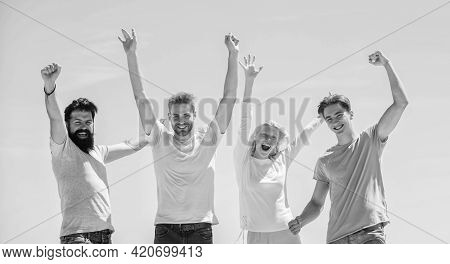 Freedom Concept. Young And Free. Success And Achievement. Cheerful People Communicating. Networking