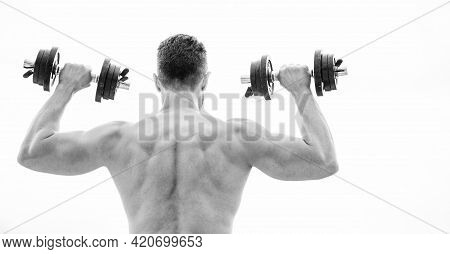 Muscular Man Exercising With Dumbbell Rear View. Pain Is Temporary, Pride Is Forever. Sportsman With