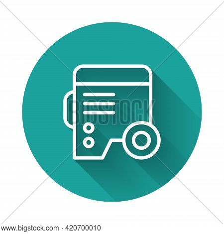 White Line Portable Power Electric Generator Icon Isolated With Long Shadow Background. Industrial A