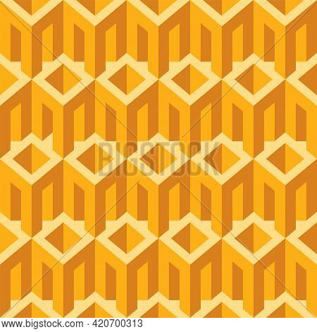 Yellow Seamless Pattern With Architectural Elements. Repeating Vector Texture With Cubic 3d Elements