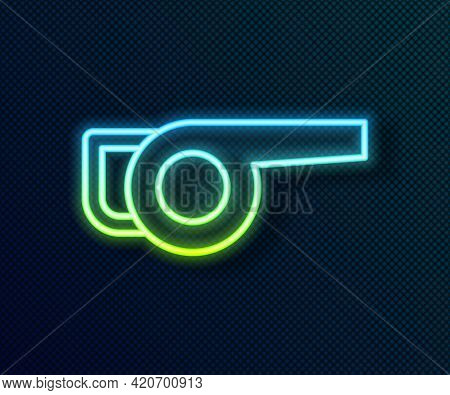 Glowing Neon Line Leaf Garden Blower Icon Isolated On Black Background. Vector