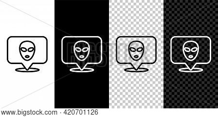 Set Line Alien Icon Isolated On Black And White, Transparent Background. Extraterrestrial Alien Face