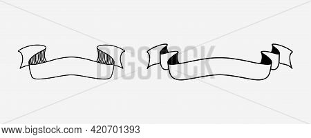 Hand Drawn Ribbon Set. Vintage Hand Drawn Label In Sketch Style. Swirl Retro Banner In Sketch