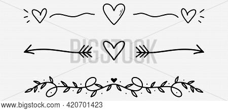 Love Dividers Sketch. Hand Drawn Romantic Divider In Doodle Style. Heart Shape With Arrows Doodle. H