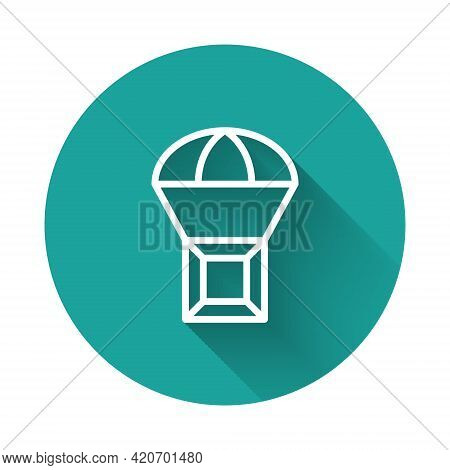 White Line Box Flying On Parachute Icon Isolated With Long Shadow Background. Parcel With Parachute