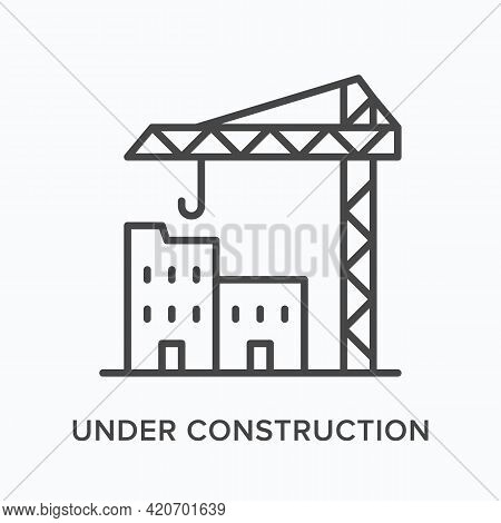 Under Construction Flat Line Icon. Vector Outline Illustration Of Tower Crane And Building. Black Th