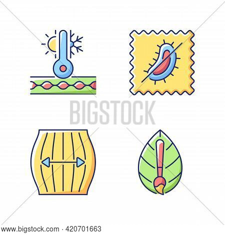 Different Fabric Features Vector Flat Color Icon Set. Stretching Fiber. Thermal Insulated And Antimi