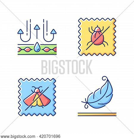 Fabric Quality Characteristics Vector Flat Color Icon Set. Moth Protection And Light Textile. Dust M
