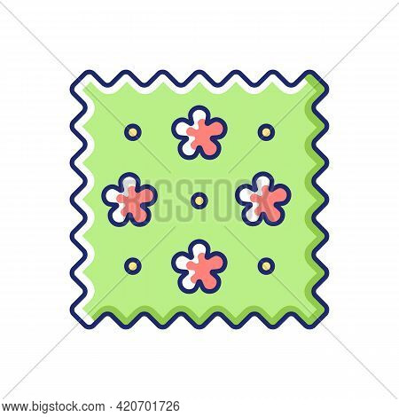 Abstract Print Pattern On Fabric Vector Flat Color Icon. Simple Fiber Label. Cute Tracery Material P