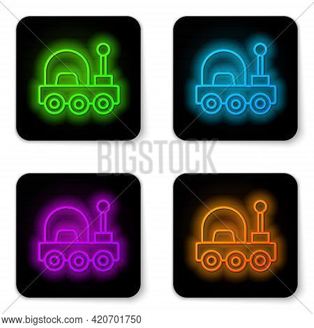 Glowing Neon Line Mars Rover Icon Isolated On White Background. Space Rover. Moonwalker Sign. Appara