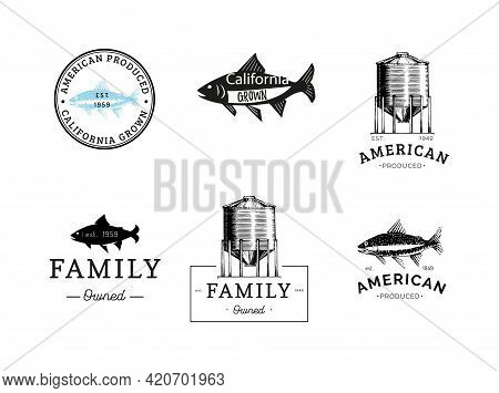 Logos Set With A Farm Hopper And A Trout In Vector