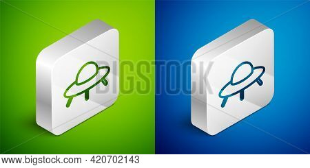 Isometric Line Ufo Flying Spaceship Icon Isolated On Green And Blue Background. Flying Saucer. Alien