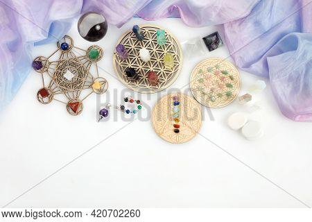Meditation, Reiki And Spiritual Healing Background. Healing Crystals Grid.