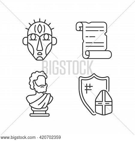 Exploring Ancient Lives Linear Icons Set. Ritual Masks. Manuscripts. Sculpted Philosopher Bust. Cust