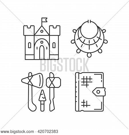 Antiquities Excavation Linear Icons Set. Medieval Castle. Excavated Treasure. Stone Age Weapons. Cus