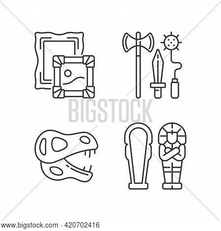 Archaeological Excavation Linear Icons Set. Paintings. Knight Weapons. Dinosaur Skeleton. Sarcophagu
