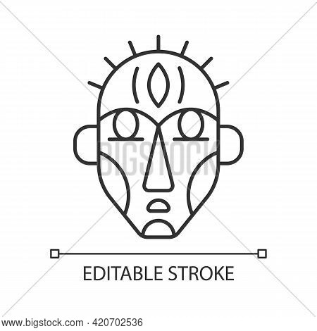 Ritual Masks Linear Icon. Supernatural Beings, Ancestors Representation. Ceremonial Mask. Thin Line