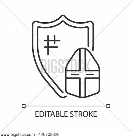 Knight Armor Linear Icon. Medieval Knight Suit. Middle Ages. Helmet, Shield. Plate Armour. Thin Line