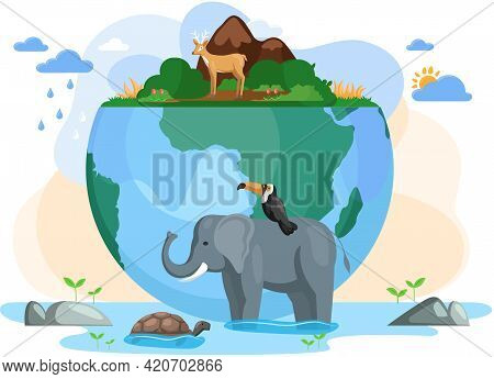 Climate Change Of Planet. Biodiversity, Conservation And Environmental Protection Concept. Birds And