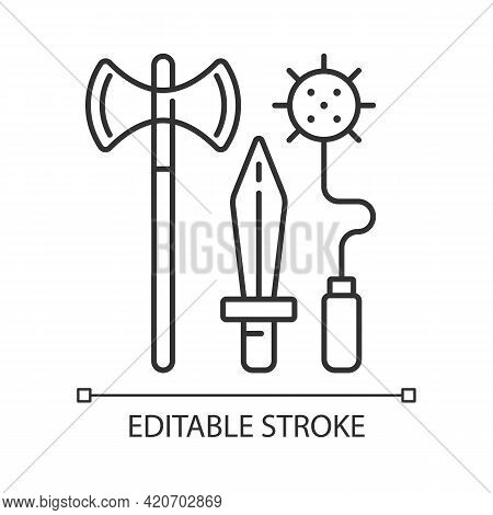 Knight Weapons Linear Icon. Medieval Times. Arming Sword And Lance. Mace, Battle-axe. Tournaments. T