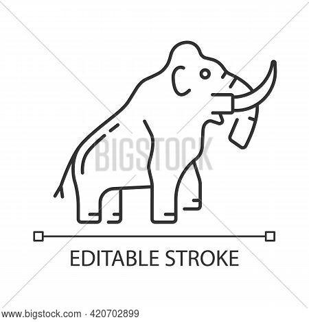 Mammoth Skeleton Linear Icon. Trunked Mammal. Paleontological Excavation. Elephant-like Bones. Thin