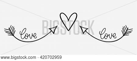 Hand Drawn Heart Shape With Arrows. Romantic Doodle In Sketch Style. Love Hand Drawn Doodle With Arr